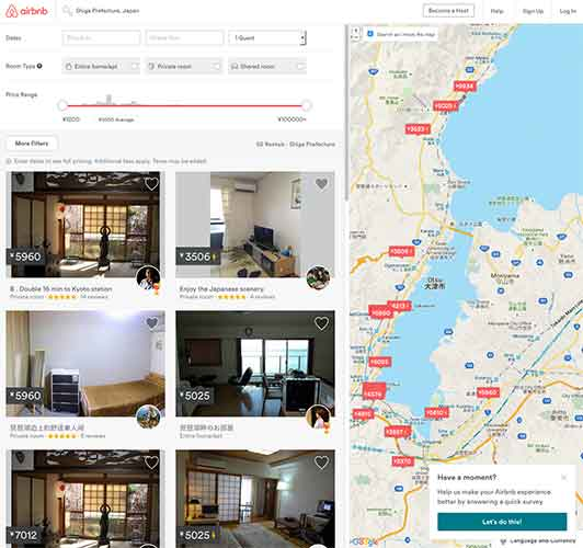 Screenshot of Airbnb's Shiga Prefecture minpaku listings.