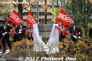Unveiling a new song monument at Kyoto University.
